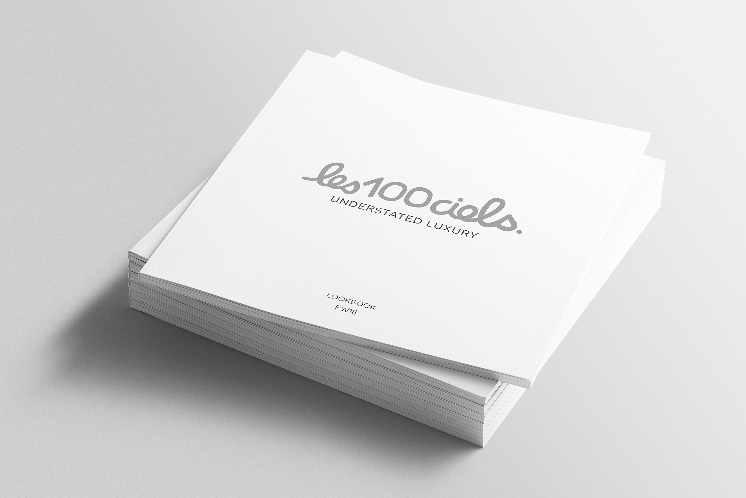 Blank square photorealistic brochure mockup on light grey backgr